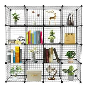 16-Cube Organizer Cube Storage Shelves Wire Grid Rack Cabinet Cubbies Bookcase