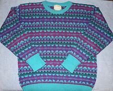 Vintage LL BEAN Geometric Norwegian Style Women Jumper M Wool Sweater L.L. 90'