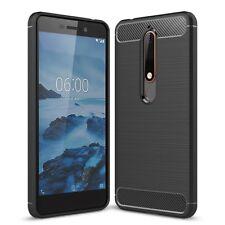 Nokia 6 (2018) étui tpu fibre de carbone OPTIQUE Brushed housse protection Noir
