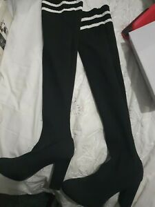 Womens Black Over Knee Stretchy Knitted High Heel Thigh Sock Boots Size 8