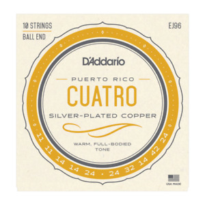 D'Addario Silverplated Copper Wound Cuatro de Puerto Rico Guitar Strings, EJ96