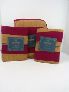 Pottery Barn Kids Harry Potter Striped Queen Duvet w/ 2 Std Shams Red Gold #6255