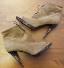 BURBERRY - Walnut Brown, Calf Suede, Peep-toe, Stiletto Ankle Boots (Size 9/40)