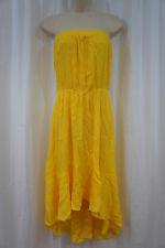Swim Cover Coco Bianco Sz L Lemon Yellow Strapless Beach Wear Cover Up Dress