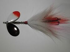 MUSKY PIKE BUCKTAIL SPINNER BAIT LURE DOUBLE  BLADES WHITE RED SKIRT 2/0 Treble