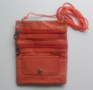 Genuine Leather Neck  Travel Pouch Passport ID Phone Bag Crossbody U.S Seller