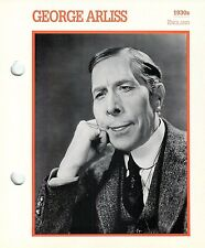 George Arliss 1930's Actor Movie Star Card Photo Front Biography on Back 6 x 7""