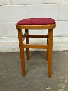 Vintage 1950's 1960's Square Brown Wooden Stool Red Fabric Seat 21in 53cm high