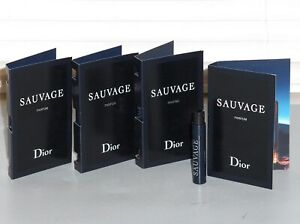 SAUVAGE by DIOR Men's PARFUM, Spray Samples, QTY OF (4) x .03 oz, 1 ml, NEW