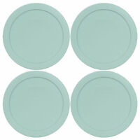 Pyrex 7201-PC 4 Cup Muddy Aqua Blue Round Plastic Storage Lid 4PK for Glass Bowl