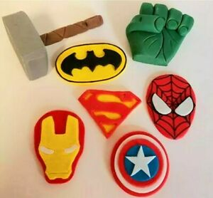Handmade Edible Superhero Avengers Marvel unofficial cake topper set