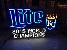"Kansas City Royals Miller Lite 2015 World Champs Neon Sign 32"" Light Beer Bar"