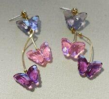 AVON Dazzling Pink Purple Plastic Butterfly Dangle Pierced Post Earrings