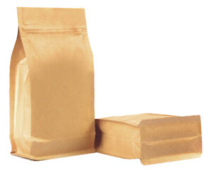 KRAFT PAPER STAND UP POUCH WITH FLAT BOTTOM SIDE GUSSET ZIPPER HEAT SEAL BAGS