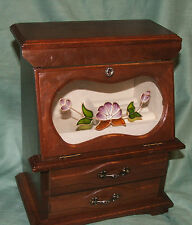 Large vintage box jewellery box wooden display box, two draws and glass door