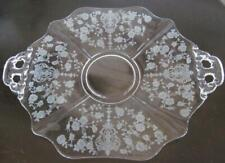"""Cambridge Glass Rose Point 11.5"""" Two Handled Plate 3400/8"""