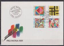 v 587 Schweiz/ Pro Patria 1991  MiNr 1446/49 auf FDC