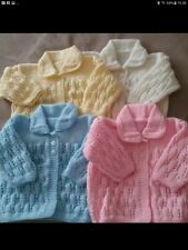 "16"", 0-3 Months Hand Knitted Baby Cardigans. LILAC ONLY."