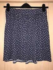 M&S Indigo Blue/Grey Leaf Print Skater Skirt Size 12 New