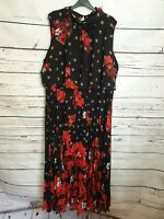 Anthology Ladies Black Floral Pleat Skirt Sleeveless Dress Size 22 New With Tags