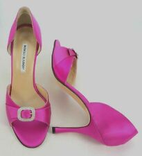 MANOLO BLAHNIK Jewel Buckle d'Orsay Pink Pumps Open Toe High Heel sz 10.5 New