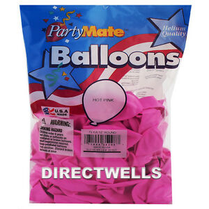 """Pioneer Made In USA 72 Standard Hot Pink Latex Balloons 11"""""""