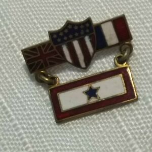 WWII SWEETHEART BROOCH - US Union Jack French Military - 2 Part Son Service STAR