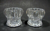 """2 Vintage Crystal Clear Candle Holders - 2 1/4"""" tall and 2 1/2"""" diameter"""