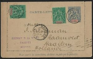 FRENCH POLYNESIA TO NETHERLANDS CARD COVER 1897