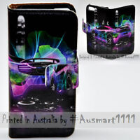 For Samsung Galaxy Note Series - Neon Car Print Wallet Mobile Phone Case Cover