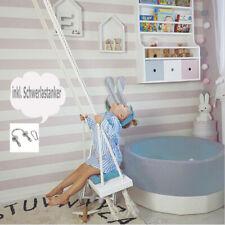 Kinderzimmer Indoor Schaukel aus Holz - weiss-blau für Kinder und Kleinkinder