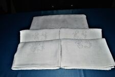 Beautiful Tablecloth Antique +4 Towels Cotton Embroidered S.G Damask Floral