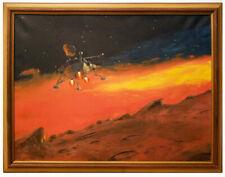 Vintage 1960's 70's Original Space illustration Painting  -  Ship Landing Planet