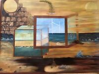 "Original Art Oil painting Symbolism Surrealism large canvas 30""x40"" Gina Lemelin"