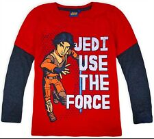 Boys New Star Wars Long Sleeve Top 100% Cotton Kids T-shirt Ages 6 8 10 12 Years