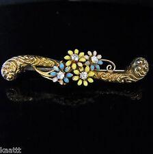 c.1800s Victorian Old Mine Cut Diamonds Enamel 14k Yellow Gold Brooch Pin Flower