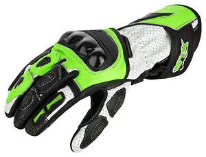 Motorrad Lederhandschuhe Motorradhandschuhe Neon Grün Schwarz Weiß Gr. S bis 2XL