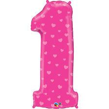 PALLONCINO 1° COMPLEANNO BIMBA mylar numero 1 rosa h 96 cm Addobbi Festa eventi