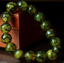 10MM 100%Natural Green Dragon Veins Agate Gemstone Beads Stretchy Bracelet 7.5''
