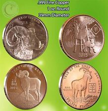 """""""Year of the Ram and Goat 2015"""" 1 oz .999 Copper Rounds  4 Rounds in the Set"""