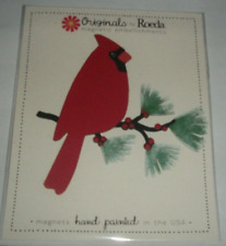 Roeda Studio Cardinal on a branch Magnet Winter Hand-Painted