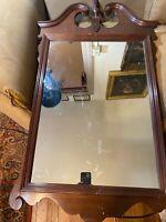 """John Wanamaker Antique Fretwork Mahogany Wall Mirror - 25.5"""" Wide x 46.0"""" Tall"""