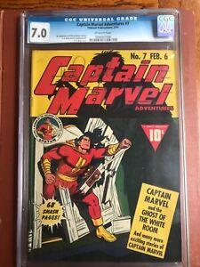 Captain Marvel Adventures 7 CGC 7.0 OW Fawcett CC Beck 1942 SWEET