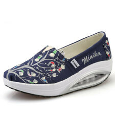 Ladies Women Floral Slip On Trainers Gym Fitness Running Toning Wedge Shoes Size