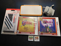 New Nintendo 2DS XL Orange/white Zelda Bundle+4 Games+ Charger+Essentials