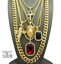 "New Hip Hop Ruby, Onyx Stone, Angel, Ankh, Lion, 30"" Cuban Chain 6 Necklace Set"