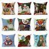"""Christmas Linen Cushion Cover Throw Pillow Case Xmas Home Decor Festive Gift 18"""""""