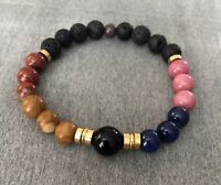 Essential Oil Diffuser Bracelet Onyx Jasper Agate Gemstones With Lava Rock Beads