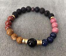 Essential Oil Diffuser Bracelet Lava Rock Onyx Jasper Beaded Rhodonite Stones