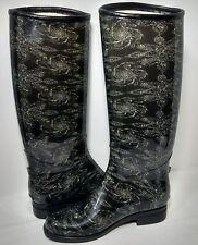 DAV Rain Boots Size 5 PVC Black Mid Calf English Sketchy Lace